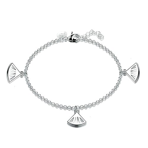 Epinki Damen Armband Edelstahl Damenarmband Freundschaftsarmbänder Ventilator Form Anhänger Silber 17CM