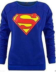 Fashion Charming-Neuer Frauen Superman Superwoman Print Sweatshirt Jumper Top