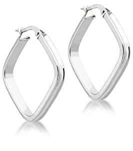 Carissima Gold 9 ct White Gold Square Creole Earrings