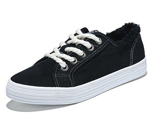 SHFANG Dame Shoes Thick Bottom Flat Bottom Canvas Schuhe Freizeit Bequeme Bewegung Students School Vier Farben Black