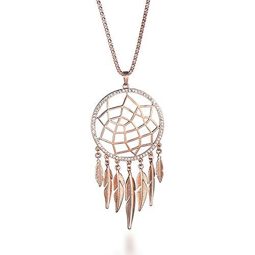 Mode Halskette für Frauen, Dreamcatcher Anhänger Halskette mit Feder Mädchen lange Kette Halskette (Roségold) - Celtic Schmuck Womens
