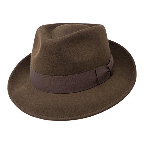 B&S Premium Doyle - Teardrop Fedora Hut - 100% Wollfilz - perfekt zum Reisen - was-serabweisend - Unisex - 56cm ()