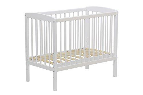 Polini Simple Beistellbett Babybett mit Matratze 90 x 50 cm und Seitengitter weiß - 4in 1 Kinderbett