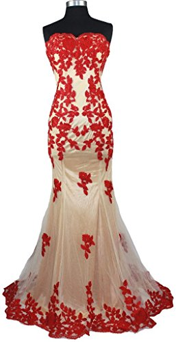 Fanciest Women's Appliques Mermaid Abendkleid Dresses Spitzen Formal Evening Kleid Red