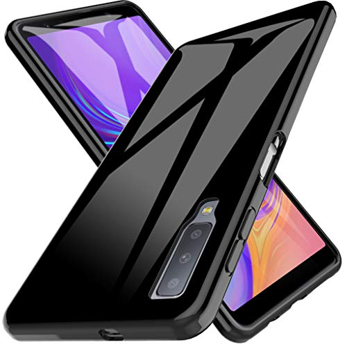 LK Cover per Samsung Galaxy A7 2018 Custodia, Case in Morbido Silicone di Gel AntiGraffio in TPU Ultra [Slim Thin] Protettiva - Nero