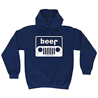 Funny Novelty Beer Anagram Off Roading Joke Car Truck Auto Road 4x4 Mechanic Drinking Hoodie Clothing Navy Blue