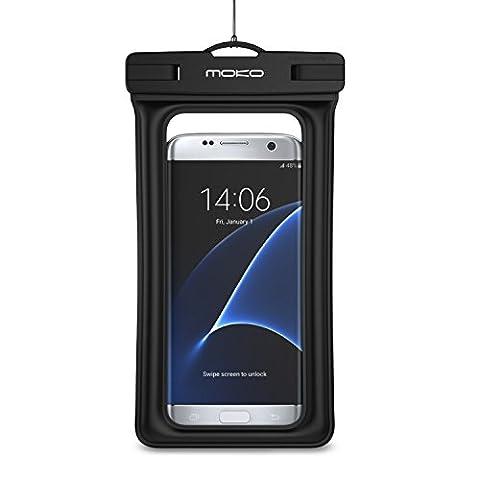 MoKo Universel Etui Housse Pochette étanche flottante avec Courroie de Cou et Brassard pour iPhone SE / 7 Plus / 7 / 6s Plus , Galaxy S7 / S7 edge / Note 5, Zenfone 3 / 2 - IPX8 Certifié, NOIR