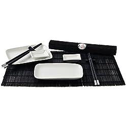 Essstaebchen - Set de vajilla y accesorios de sushi para 2 personas, color negro y blanco
