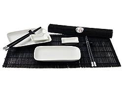Sushi Service 6-teilig für 2 Personen Teller Geschirr weiß schwarz