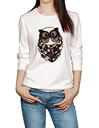 Allegra K Women's Sequined Owl Applique Round Neck Long Sleeves Sweatshirt