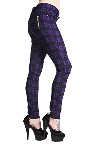 Banned Tartan Karo Rock Punk Skinny Hose (EU 40 (UK 14/32