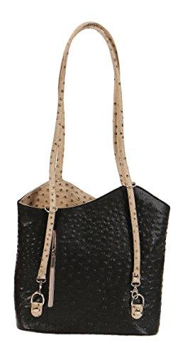 Malito Damen Handtasche Aus Leder   Shopper IM Straußen Look   Tasche mit Reißverschluss   Schultasche T501 Schwarz-Beige (Handtasche Longchamp Große)