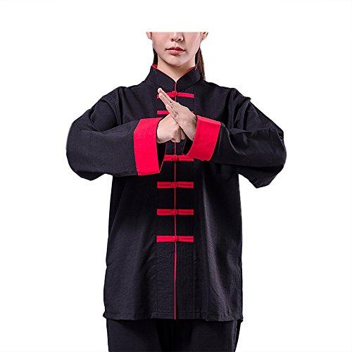 KIKIGOAL Unisex Tai Chi Anzug Kung Fu Uniformen Kampfsport Für Damen und Herren Baumwolle und Flachs Chinoiserie Für Herbst und Winter (Schwarz, M)