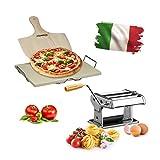 3 teiliges Italien Set Deluxe, Pizzastein aus Cordierit, mit Halterung und Pizzaschaufel, Nudelmaschine aus Edelstahl