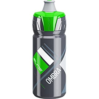 Elite Ombra Membrane Bottle - Grey/Green, 550ml / 0.5L Half Litre Bidon Flask Vessel Cup Canteen Water Storage Drinking Drink Liquid Fruit Juice Energy Powder Store Container Lightweight Ultralight Super Corsa Fly Bicycle Cycling Cycle Biking Bike Road Racing Race Gym Triathlon Time Trial Spinning Spin Class Pro Aero Peloton Team Sport Outdoor Exercise Hydration Hydrate Riding Ride Spout BPA Free Fit Cage Holder Running Run Non Leak Spill Squeeze Cap Top MTB Mountain Light Plastic