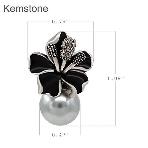 Kemstone Plaqué or rose cristal Accentuée imitation perles acrylique Blanc Fleur Boucles d'oreille à tige pour femme noir