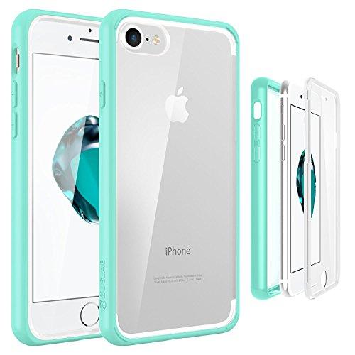 ZUSLAB iPhone 8 / iPhone 7 Hülle, Kratzfeste Weiche TPU Silikon PC Case Full Body Beidseitiger Schutzhülle Kristall Tasche Klar Double Hülle Durchsichtig Handyhülle für iPhone 8 / iPhone 7 [Compact][T Minze