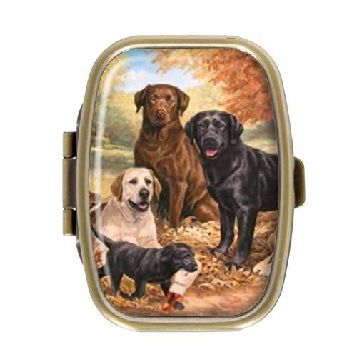 Qcc Pillendose mit süßem Labrador Retriever Hund Pillendose Deko-Boxen Bronze rechteckig Tabletten-Organizer für Tasche oder Geldbörse -
