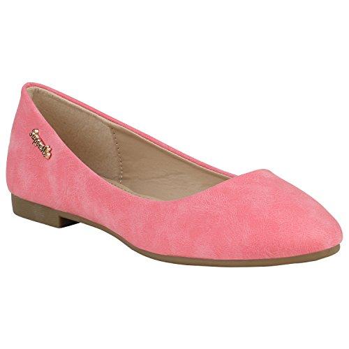 Klassische Damen Ballerinas Leder-Optik Flats Trend Schuhe 155261 Rot Amares 41 Flandell