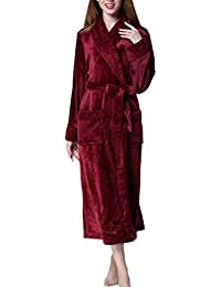 Zhhlinyuan Hombres Mujeres Soft & Cosy Flannel Fleece Bata Dressing Gown Kimono Albornoces Unisex Luxury Shawl