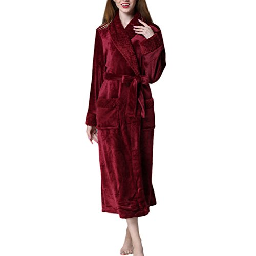 Zhhlinyuan Herren und Damen Soft & Cosy Flannel Fleece Robe Morgenmäntel Kimono Bademäntel Unisex Luxury Shawl Collar Wrap Housecoat für Adults Gym Shower Spa Hotel Nachtwäsche (Robe Belted Kimono)