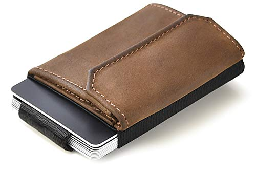 JAIMIE JACOBS Minimalist Wallet Nano Boy Pocket Mini Geldbörse aus Textil mit Zugband schmaler Kartenhalter für Herren und Damen (Büffelleder Braun) - Basic Wallet