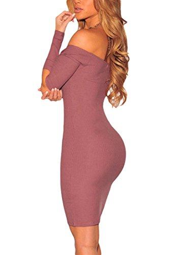 MYWY - Abito donna vestito elegante lunghezza ginocchio tubino aderente dettaglio ritaglio maniche lunghe Rosa