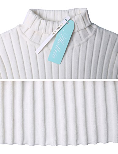 Abollria Strickpullover Damen Basic Feinstrick Langarm Pulli Stretch Pullover für Winter Weiß