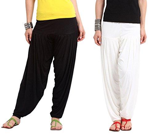 Nikita Women's Black and White Viscose Patiala Pants 2PC Combo