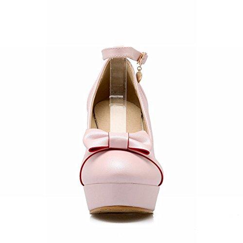 Mee Shoes Damen süß Schleife Ankle strap Plateau Pumps Pink