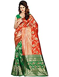 a761bf1078 Lavni Fashion Green Orange Jequard Banarasi Silk Saree With Unstitched  Blouse Piece For Women