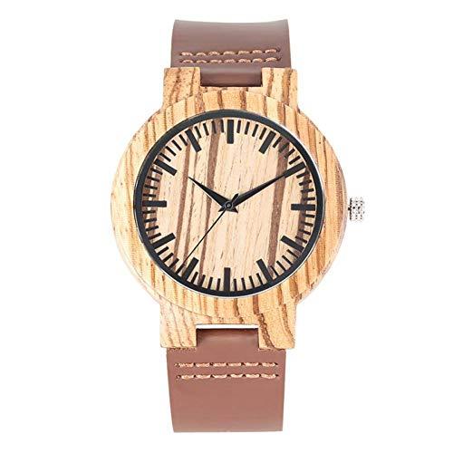 WRENDYY Holzuhren Minimalistische Ebenholz Quarzuhr männliche einfache Holz Uhr für Männer RetroBand Man Clock Armbanduhren -
