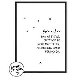 Freunde sind wie Sterne - Kunstdruck auf wunderbarem Hahnemühle Papier DIN A4 -ohne Rahmen- schwarz-weißes Bild Poster zur Deko im Büro/Wohnung / als Geschenk Mitbringsel zum Geburtstag etc.
