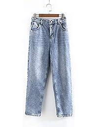 Jeans de Mujer Suelto Pantalones Anchos de Pierna Ancha Lavado Afligido Dos  Hebillas Cintura Alta Pantalones 785bb91fc62e