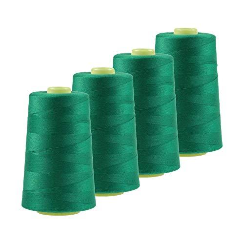 maDDma 4 x 4572m Overlockgarn Nähgarn Polyester Overlock Garn, wähle aus 400 Farben, Farbe:A617 smaragdgrün