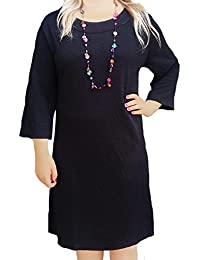 Women's UK Plus Size Heavy Stretch Non-Clingy Black Dress or Long Tunic Sizes 22 - 30