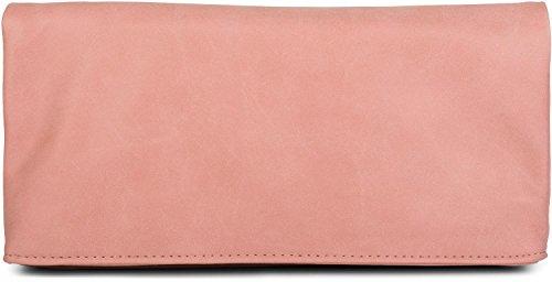 styleBREAKER clutch ripiegabile con design scamosciato a forma di busta, borsa 3-in-1, bretelle, maniglietta, borsa da spalla, donna 02012190, colore:Rosa Rosa