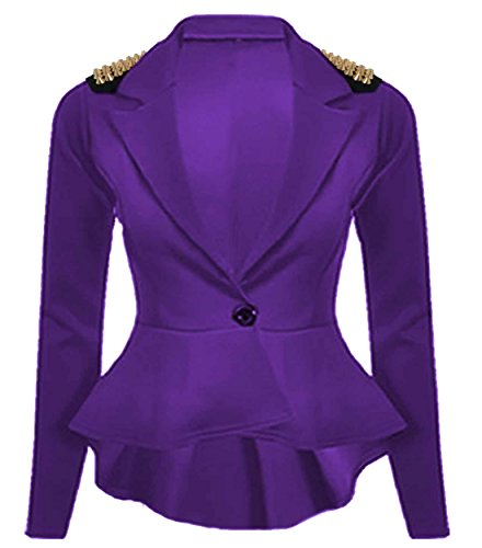 Nouveaux Femmes Grande Taille transitoire de veste de blazer femmes cloutés taille 36-52 Violet