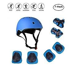 Idea Regalo - Set di casco protezione bambini, COOLGOEU 7 in 1 Set di casco, ginocchiere, gomitiere e Protezione Polso per bambini per pattini a rotella,BMX, skateboard, bicicletta, hoverboard e altri sport estremi