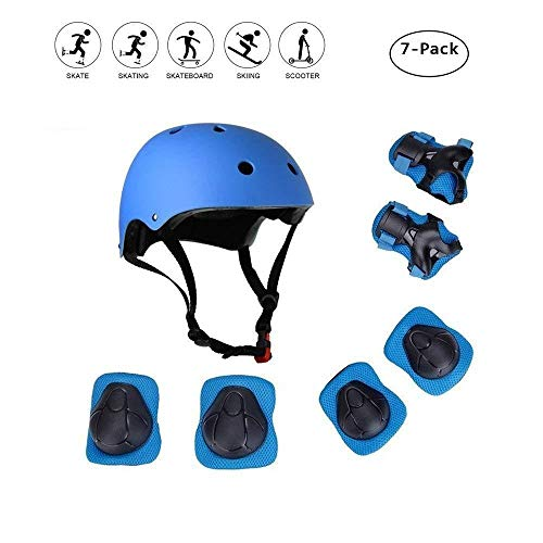 Skateboard Helm Kinder, COOLGOEU 7 in 1 Protektorenset Kinder mit Knieschoner, Ellenbogenschoner und Handgelenkschoner für Inlineskates, Skateboard, Hoverboard, Fahrrad, BMX-Fahrrad (Blau)