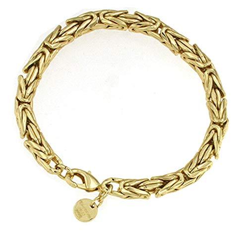Königs-Armband rund Gold Doublé 6 mm 24 cm Gold-Armband rund Herren Damen Geschenk Schmuck ab Fabrik Italien tendenze BZGYRds6-24v