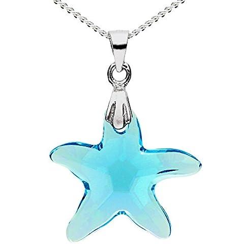 MYA art Kette Halskette 925 Sterling Silber mit Seestern Stern Anhänger Swarovski Elements Kristall Hellblau Türkis Blau Damen Kinder MYASIKET-9
