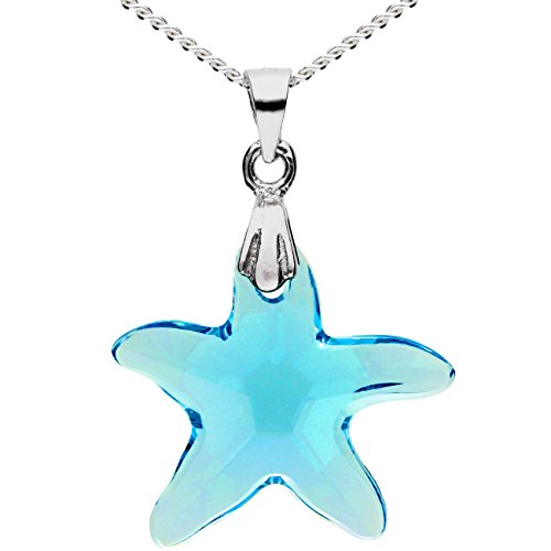 tte 925 Sterling Silber mit Seestern Stern Anhänger Swarovski Elements Kristall Hellblau Türkis Blau Damen Kinder MYASIKET-9 (Echte Türkis-halskette Für Frauen)