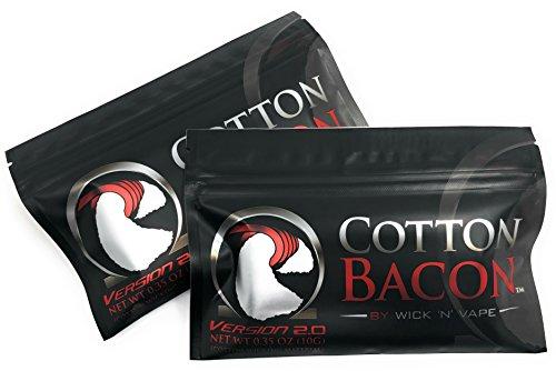 ORIGINAL Wick 'N' Vape Cotton Bacon V2 - Dampfer Watte E Zigarette Zubehör / Selbstwickler Watte - 2 Packungen-Sparset