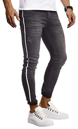 Leif Nelson Herren Jeans Hose Stretch Slim Fit Denim Blaue Lange Jeanshose für Männer Coole Jungen weiße Freizeithose Schwarze Cargo Chino Sommer Winter Basic LN9415 Schwarz W31L30