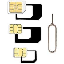 Adaptador de tarjetas SIM Set para Smartphone y Tablet: Set 4en 1, SIM Adaptador Nano a Micro, Nano a normal, Micro a SIM normal, adaptador de tarjeta, Mini Set con klicksi cherung, se adapta, Nano SIM Micro SIM en negro
