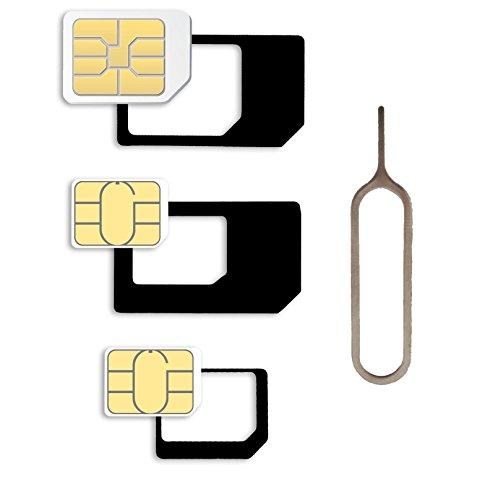 Nano Sim und Micro Sim Karten Adapter Set für Smartphone, Handy und Tablet: 4 in 1 Komplett Set, Mini Set mit Klicksicherung, 100 % passgenau, Nano zu Micro, Nano zu Standard, Mikro zu Standard (Sim-karte Werkzeug Iphone 5)