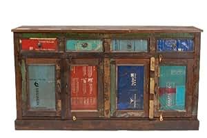 Vintage Sideboard Underground recyceltes Holz 4 Türen, 4 Schübe
