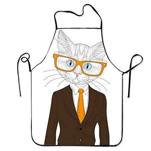 KLYDH Comfortable Bib Apron Cute Cat Boy for Restaurant Stitched Edges