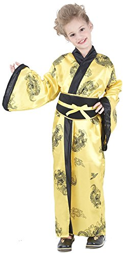 Elegante Chinesin Kinderkostüm Asia gelb-schwarz 122/134 (7-9 -